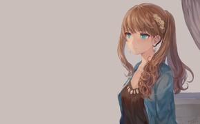 Картинка девушка, фон, аниме, арт, причёска