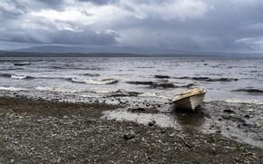Картинка море, берег, лодка