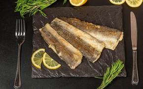 Картинка лимон, рыба, нож, вилка, жареная рыба