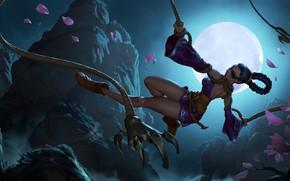Картинка девушка, ночь, луна, канат, верёвка, Legends of Runeterra