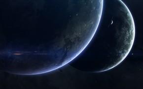 Картинка Звезды, Планета, Космос, Планеты, Planets, Арт, Stars, Space, Art, Спутник, Planet, Satellite, Brothers, Гиганты, Giants, …