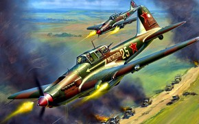 Картинка СССР, Ил-2, WWII, ВВС РККА, Ил-2 Штурмовик, Betonflugzeug, Schwarzer Tod