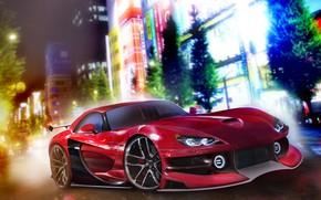 Картинка Авто, Ночь, Город, Машина, Dodge, Viper, Dodge Viper, Рендеринг, Concept Art, Спорткар, Dodge Viper SRT-10, …