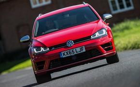 Картинка красный, Volkswagen, спереди, универсал, 2015, Golf R Estate
