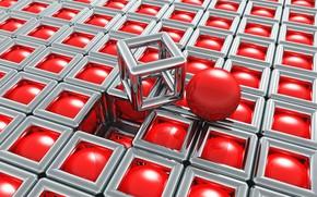 Картинка квадраты, сердечко, красные шары