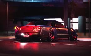Картинка Авто, Игра, Машина, Car, Need for Speed, Skyline, Nissan Skyline, BNR34, Споркар, Payback, Transport & …