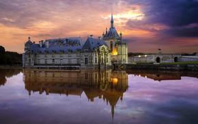 Обои пруд, отражение, Франция, Уаза, замок Шантийи