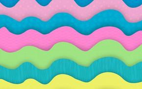 Картинка волны, абстракция, green, colorful, yellow, blue, pink, background, pastel