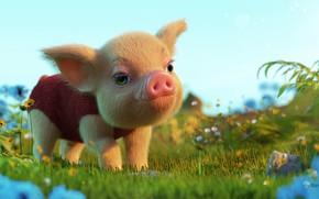 Картинка лето, малыш, арт, прогулка, детская, хрюшка, поросёнок, Ale Barbosa, Finding Little Pig