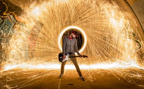 Картинка гитара, концерт, музыкант, световое шоу