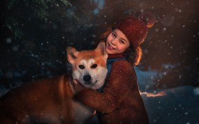 Картинка снег, улыбка, собака, девочка, друзья, шапочка, сиба-ину, Оксана Пипкина