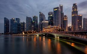 Картинка город, вечер, Сингапур, Singapore