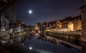 Картинка ночь, луна, Германия, Бавария, Нюрнберг