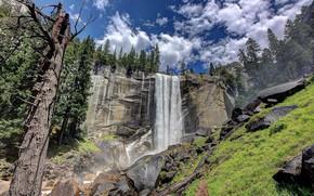 Картинка скала, водопад, красота