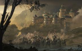 Обои лес, оружие, доспехи, Замок, флаг, воин, всадник, рыцарь