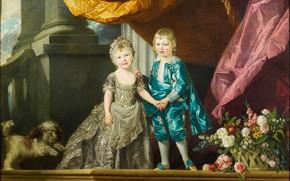 Картинка дети, мальчик, девочка, живопись