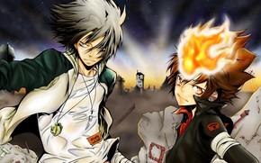 Картинка аниме, арт, парни, Katekyo Hitman Reborn, Учитель мафиози Реборн, Гокудера Хаято, Тсунаеши Савада