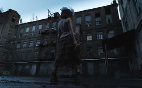Картинка девушка, игрушка, здание, мишка, банты, Евгения Нугманова