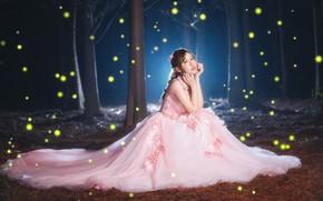 Картинка лес, девушка, свет, ночь, платье, азиатка, сидит