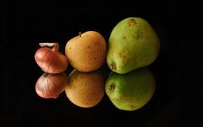 Картинка отражение, яблоко, еда, лук, груша, чёрный фон
