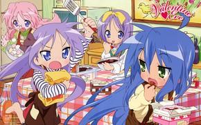 Картинка сладости, веселье, подруги, на кухне, синие волосы, готовка, Kagami Hiiragi, Lucky Star, Tsukasa Hiiragi, Счастливая …