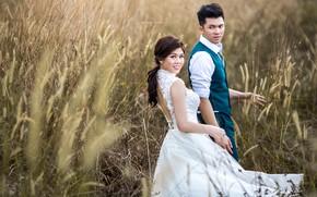 Картинка девушка, поза, платье, парень, влюбленные, невеста, Sonam Prajapati