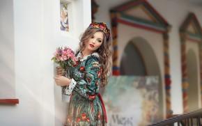 Картинка поза, цветы, взгляд, красивая, девушка, платье, Anastasia Grosheva, модель