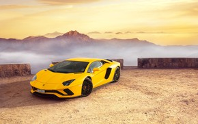 Обои Lamborghini, Yellow, Supercar, Fast, Aventador S