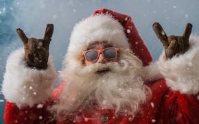 Картинка new year, snow, santa claus, beard