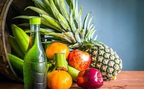 Картинка яблоки, бутылка, фрукты, ананас, мандарины