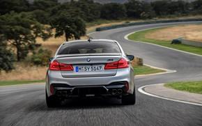 Картинка серый, трасса, BMW, седан, вид сзади, 4x4, 2018, четырёхдверный, M5, V8, F90, M5 Competition