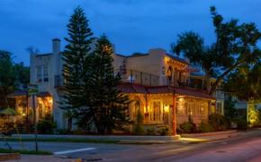 Картинка дорога, деревья, огни, улица, дома, вечер, Флорида, США, тротуар, Saint Augustine Beach