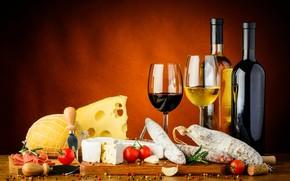 Картинка вино, сыр, помидоры, бекон, специи