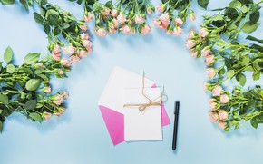 Картинка розы, ручка, romantic, конверт, roses, bouguet
