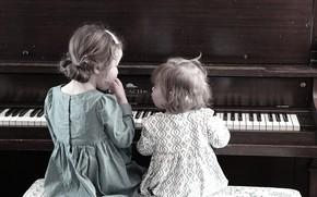 Картинка девочки, пианино, сёстры