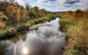 Картинка трава, пейзаж, природа, река, красота, панорама, канал