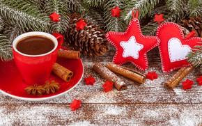 Картинка снег, украшения, сердце, Новый Год, Рождество, Christmas, heart, wood, winter, snow, cup, New Year, coffee, …