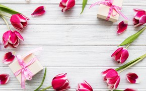 Картинка белый, фон, подарки, тюльпаны, wood, Olena Rudo