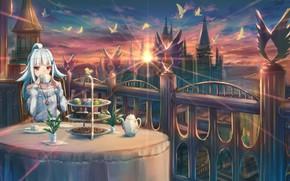 Картинка небо, закат, чаепитие, балкон, Nijisanji, Lize Helesta