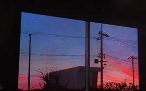 Картинка небо, закат, луна, сумерки, вид из окна, лэп
