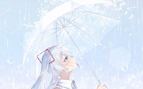 Картинка Дождь, Зонт, Hatsune Miku, Vocaloid, Вокалоид, Хатсуне Мику