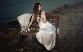 Картинка девушка, скамья, Mar Kalina