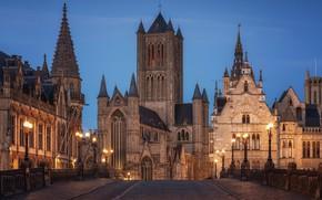 Картинка ночь, улица, здания, Бельгия, Гент