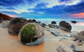 Картинка Beach, New Zealand, Moeraki Rocks