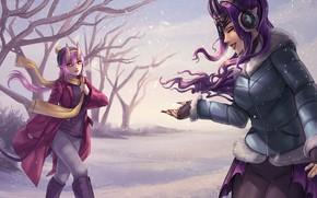 Картинка зима, девушка, снег, шарф, демон, арт, рога, снежинка