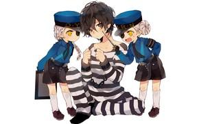 Картинка дети, игра, аниме, арт, парень, персонажи, заключённый, Персона 4, Persona 4