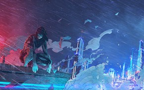 Картинка Девушка, Рисунок, Город, Дождь, Ghost, Арт, Призрак в доспехах, Ghost in the Shell, Киборг, Motoko, …