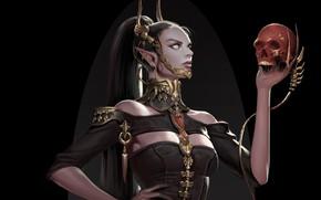Картинка взгляд, девушка, череп, рука, фэнтези, арт, хвост, профиль, черный фон