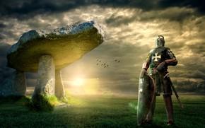 Картинка поле, небо, трава, солнце, облака, свет, пейзаж, птицы, тучи, поза, камни, рендеринг, оружие, коллаж, меч, …