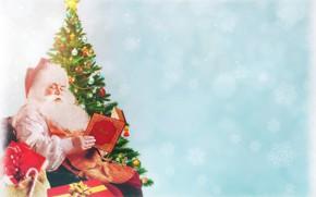 Картинка снег, снежинки, праздник, Рождество, подарки, Новый год, книга, бантики, Санта Клаус, мешок, сидит, Дед Мороз, …